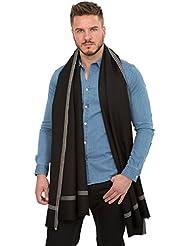 Grande écharpe 'Soho' tissée à la main en laine mérinos, Noir