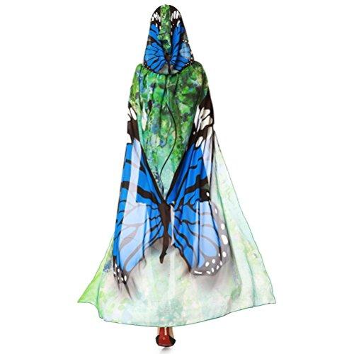 Schmetterling Kostüm, Dasongff Frauen Party Kapuzen Umhang Print Chiffon Schmetterling Flügel Cape Schal Pfau Poncho Schal Wrap Karneval Fasching Kostüm Cape mit Kapuze (140*100CM, Blau)