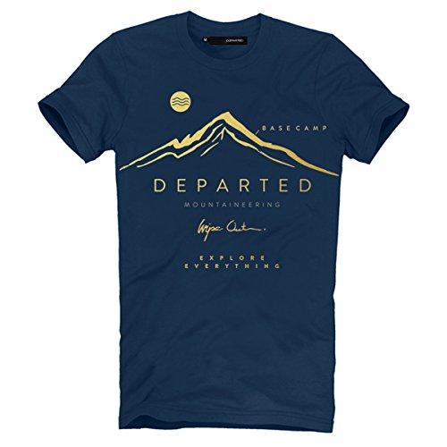 DEPARTED Herren Mountain T-Shirt mit Print/Aufdruck 3736-140 - New fit Größe L, Coastal Denim (T-shirt Dunklen Womens Lustig)