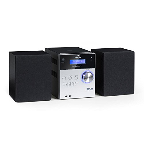 auna MC-20 DAB • Micro-Stereoanlage • Mini-Stereoanlage • HiFi-Stereoanlage • digitaler DAB(+)-Tuner • analoger UKW-PLL-Tuner • Ausgangsleistung: 2X 5 Watt • Bluetooth • LCD-Display • Silber