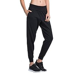 Matymats harén Pantalones pantalón Deportivo para Deporte Yoga Gimnasio Pilates Entrenamiento de Deporte Bolsillo Pantalones, Mujer, 033-Black, Medium