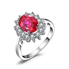 Idea Regalo - JewelryPalace Principessa Diana William Kate Middleton's 3.2ct Sintetico Rosso Rubino Fidanzamento 925 Sterling Argento Anello