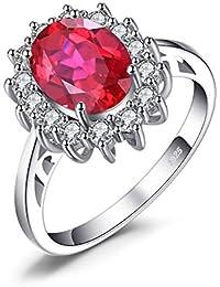JewelryPalace Anillo Princess Diana William Kate Middleton de Solitario en plata de ley 925