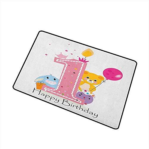 1st Birthday Inlet Outdoor Fußmatte Prinzessin Girl und Party Cake mit Kerze Teddybär Toy Print Catch Staub Schnee und Schlamm Pale Pink und Hot Pink Badematte (Girl In Hot Dusche Der)