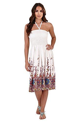 Pistachio, Damen, Floral, 3in 1,Baumwolle, Sommer-Kleid, lila Gr. Small , White/Red Floral Vine