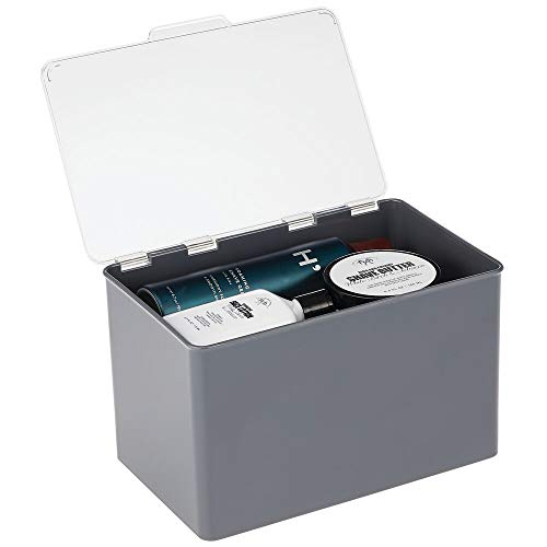 mDesign Aufbewahrungsbox mit Deckel für die Küche, Vorratskammer, das Arbeitszimmer - Stapelbox aus BPA-freiem Kunststoff - kompakte Kunststoffkiste für Haushaltswaren - dunkelgrau und durchsichtig
