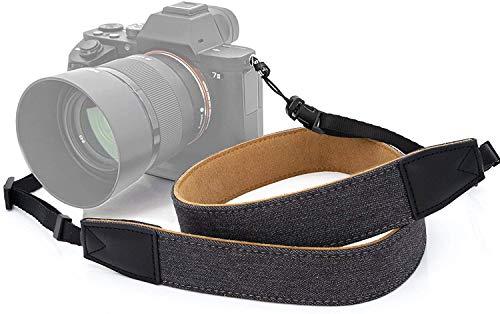 MyGadget Kameragurt mit Quick Release Schnellverschluss aus Stoff, Kunstleder - Nackengurt für DSLR/SLR Kamera, Spiegelreflex, Digitalkameras - Grau