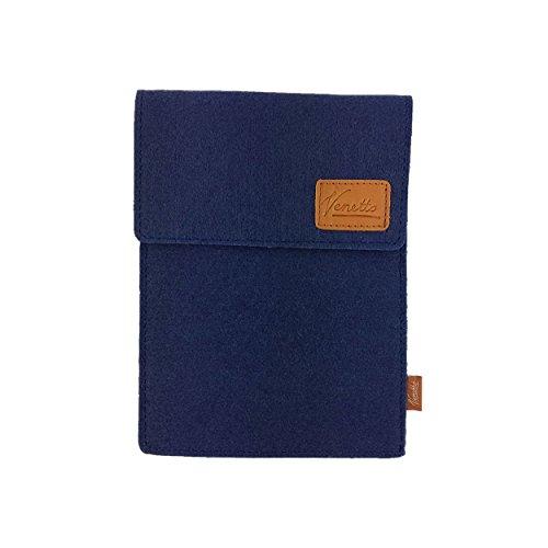 Venetto Tasche für eBook-Reader Hülle aus Filz Sleeve Schutzhülle für Kindle Kobo Tolino Sony Trekstor Dunkelblau