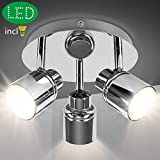 3 Way Round Plate Led Ceiling Spotlight for Bathroom, Kitchen (3000K Warm White). IP44 Waterproof, Polished Chrome Led Bathroom Light Ceiling. (3X5W GU10 Bulbs Included)