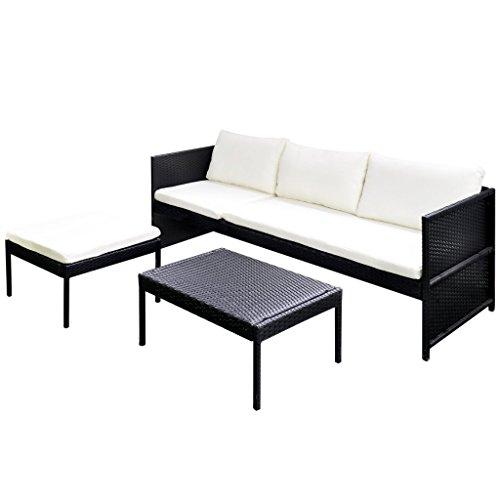 vidaXL Poly Rattan Gartenmöbel Lounge Set 3-Sitzer Schwarz - 4