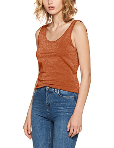 Only Onllive Love Glimmer Tank Top Noos, Vestaglia Donna Marrone (Copper Detail:tone-in-tone Metallic)