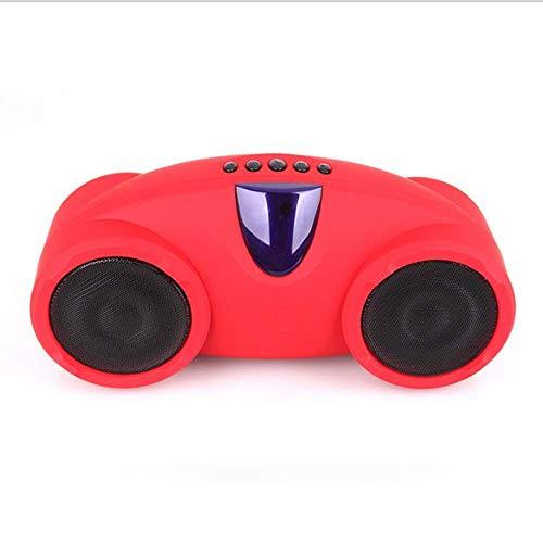 WleSpeakers Fernbedienung Bluetooth-Lautsprecher, Subwoofer, tragbarer FM-Radio-HiFi-Lautsprecher, mit USB-Unterstützung, SD-Karten-Aux-Eingang, für Kinder, Party, Schlafzimmer, Camping, Handy,Red