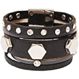 Bedazzled Chunky Black Leather and Silver Coloured Studs Magnetic Statement Fashion Bangle - in Gift Bag
