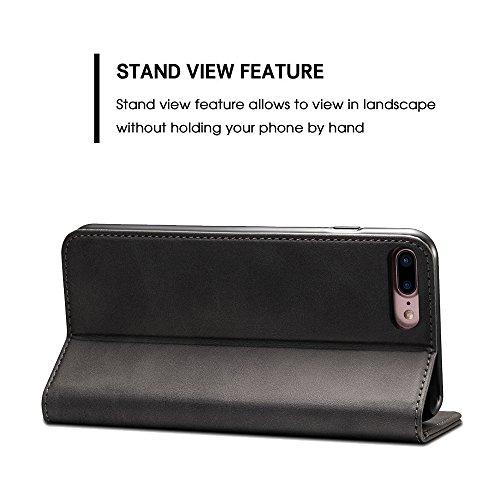 Leder Handyhülle Für Apple iPhone 6 6s 7 Plus 8 Samsung Galaxy S8 Plus + Flip Case Handytasche mit 3 Kredit Karten Hülle Geldklammer mit Unsichtbarem Magnet Verschluss und Stand Funktion Schutzhülle Schwarz