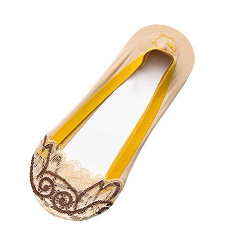 SHUBIHU Socks Fashion Damen Baumwollmischung Lace Antiskid Invisible Low Cut Socken Toe Ankle Sock (Gelb, Free) - Herren-baumwoll-socken Gold Toe