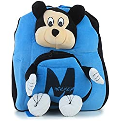 Bazaar Pirates Mickey Mouse School Bag Or Picnic Bag For Kids, Children, Plush Backpack, Soft Toy ( Blue )