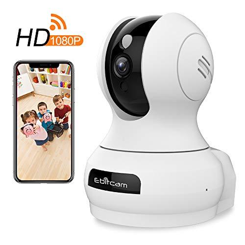 【Ultima Versione】 Telecamera di Sorveglianza WiFi FHD 1080P, Videocamera Interno Wireless, IP Camera Videosorveglianza 360° con Visione Notturna, Bi-Audio, Motion Tracker con iOS/Android/PC/Alexa