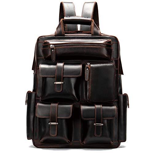 Preisvergleich Produktbild HWYP Mens echtes Leder handgefertigt 17 Zoll Laptop Rucksack Rucksack Multi Taschen Reise Sporttasche