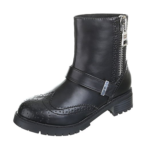 Damen Schuhe, ADRIA, BOOTS Schwarz Silber BORA