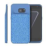 Samsung Galaxy S7 Edge Akku Hülle, 5000mAh Externe AkkuCase Tragbar Aufladbar Batterie Ladehülle Integrierten Ersatzakku Ladegerät Power Bank Backup Extra Pack Schutzhülle Blau