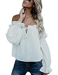 Amazon.es  hombro - Blanco   Blusas y camisas   Camisetas af74f66c5d6