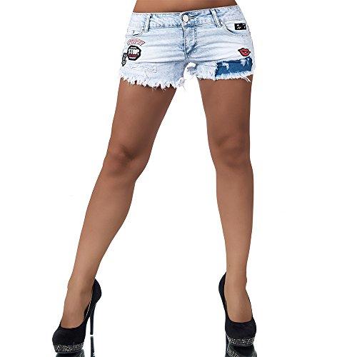 H902 Damen Jeans kurze Hose Damenjeans Hüftjeans Hot Pants Shorts Panty Blau