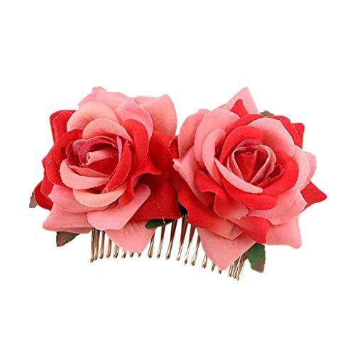 Feytuo Hochzeit Haarkamm, Braut Haarkamm Mit Blumen, Braut Haarkamm Für Hochzeit, Damen Braut Blumen Haar Kamm Hochzeit Zubehör Rote Rose Haarnadel Haarschmuck Blumen Kopfschmuck Hochzeit haarnadeln