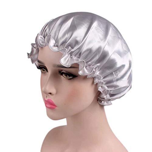 Schlafmütze breites Band Satin Bonnet Cap Hair Beauty Cap Atmungsaktive Nachtmütze