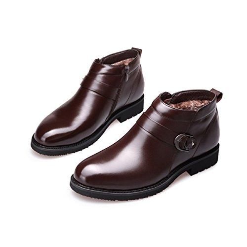 Lyzgf Hommes Père Cuir Chaussures Loisirs Hiver Zipper Coton Chaud Brun