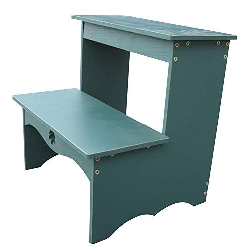 Blau Leder Osmanischen (QQXX Leiterhocker Wood-Based Panel Haushalt Multifunktions tragbare Montage, 2-Stufen-Hocker, 3 Farben Dual-Use (Farbe: Blau, Größe: 35x32x38cm))