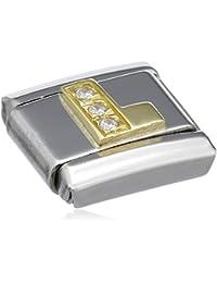 Nomination Comp. Classic BUCHST. Edelstahl, 18K-Gold und Cubic Zirc. (L) 030301