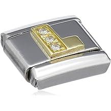 330205//12 Nomination Damen-Charm COMPOSABLE Classic Buchstaben L Edelstahl Emaille
