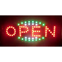 LEUCHTREKLAME LED SCHILD - OPEN. IDEAL FUR SCHAUFENSTER.