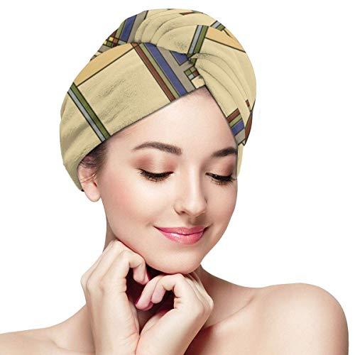 Damen- und Mädchenhaartuchwickel Trockentuchwickel Turban für nasses Haar für lockiges, langes und dickes Haar Arts & Crafts Fall Geometric Patt -
