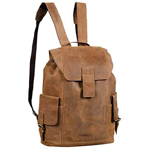 STILORD 'Austin' Rucksack Laptop Leder 13.3 Zoll Frauen Männer Lederrucksack Daypack für DIN A4 Ordner für Schule Uni Arbeit, Farbe:Used Look - braun