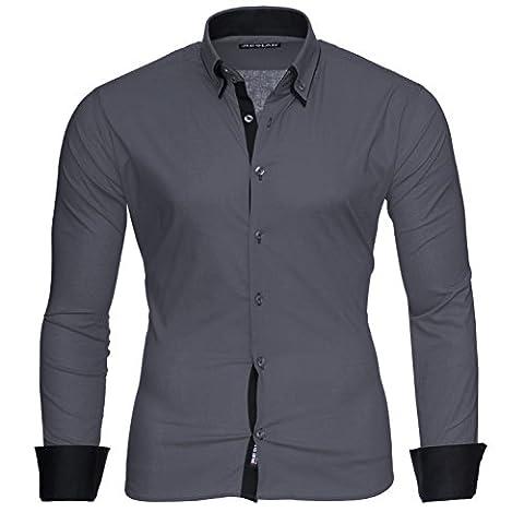 Reslad Herren-Hemd Slim Fit Kontrast Langarm-Hemd Alabama RS-7050 (2XL, Anthrazit-Schwarz)