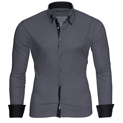 Reslad Herren-Hemd Slim Fit Kontrast Langarm-Hemd Alabama RS-7050 (L, Anthrazit-Schwarz)