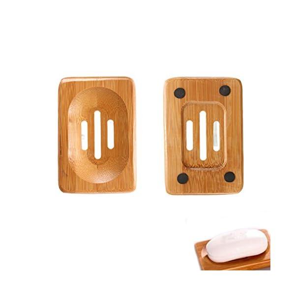 Leisial Caja de Jab/ón Bamb/ú Madera Natural Jabonera Accesorio Almacenamiento de Ba/ño para Hogar Ba/ño Ducha Lavar