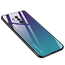 Case for Huawei Mate 10 Pro Cover, Anti-scratch Tempered Glass Back Cover + TPU Frame Hybrid Shell Slim Case Silicone Shockproof Cover for Huawei Mate 10 Pro - Purple blue