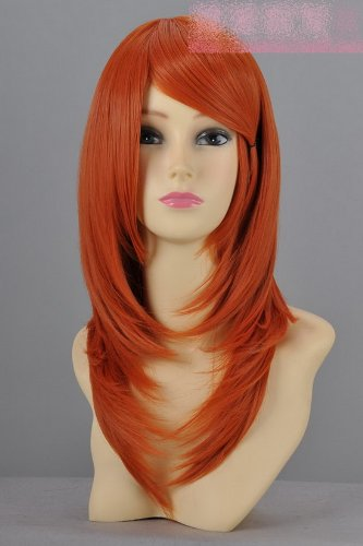 Perücke gerade Orange Lang Cosplay Perücke Wig 50cm lang Adduktoren Gesicht in orange Cosplay Perücke glattes Haar (Lange Perücke Orange)