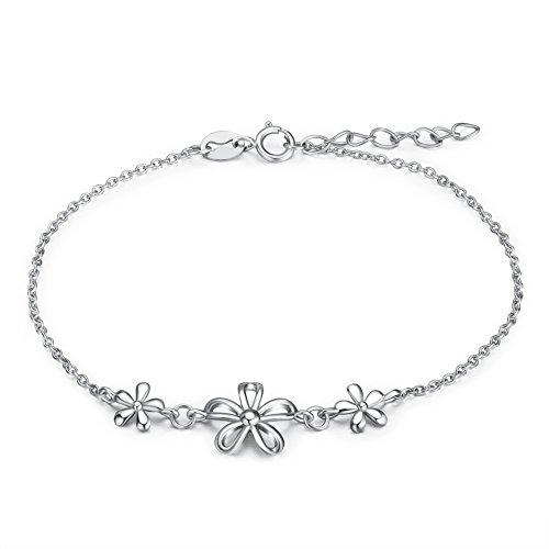 rling Silber Floral Armband Daisy Blumen Hand Kette Blossom Kirsche Blume Verstellbar Handgelenk Armband für Frauen Mädchen ()
