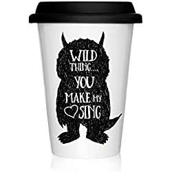 We Love Home - Taza de porcelana con tapa de silicona negra Take Away 40 cl. estilo nórdico modelo Wild Thing