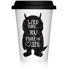 We Love Home - Taza de porcelana con tapa de silicona negra Take Away 40 cl. estilo nórdico modelo Wild Thing