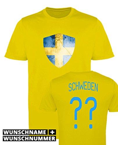 Comedy Shirts - Schweden Trikot - Wappen: Groß - Wunsch - Herren Trikot - Gelb/Blau Gr. L