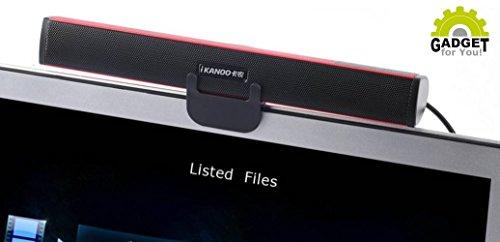Original Ikanoo® N12 USB Soundbar + GRATIS Halterung & Standfuß (Für Computer, PC, Laptop, Notebook, Rechner, Monitor, uvm.) | Mini 2.0 Sound Lautsprecher Leiste/Box für unterwegs & Zuhause Mini Laptop Lautsprecher