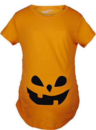 Crazy Dog TShirts - Maternity Teardrop Eyes Pumpkin Face Halloween Pregnancy Announcement T shirt (Orange) 3XL - damen - (Mutter Und Tochter Kostüme Hexe)