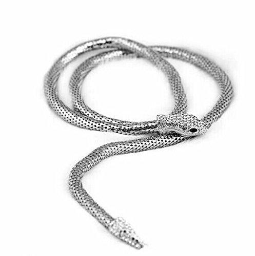 Maxfashion Sexy Temptation Flexible Biegsam Snake Schmuck Halskette Halsreif Armband Schal Halter Biegsame Kette Twistable Shape Design als Bund-Gurt (Silber) -