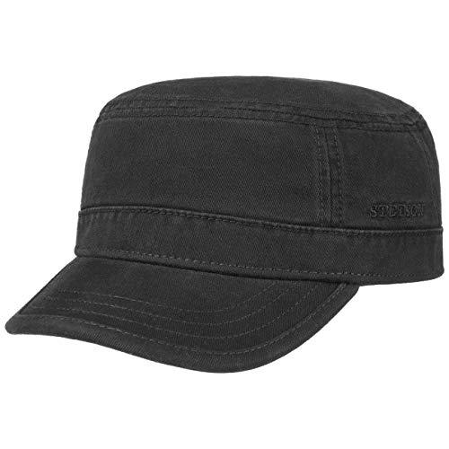 Stetson Gospar Army Cap (Kubacap), aus 100% Baumwolle gefertigte Urbancap für Damen und Herren, eine coole Armeekappe mit Schirm in der Größe L/58-59, Farbe schwarz