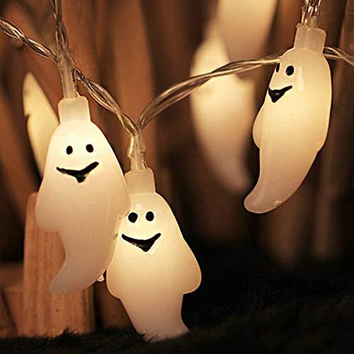 Morbuy LED Halloween-Lichterketten, 10 LED Geist Lichter for Halloween Weihnachts Dekorationen Indoor&Outdoor Theme Parteien Festival (1.2cm*10LED, Warmes Weiß)