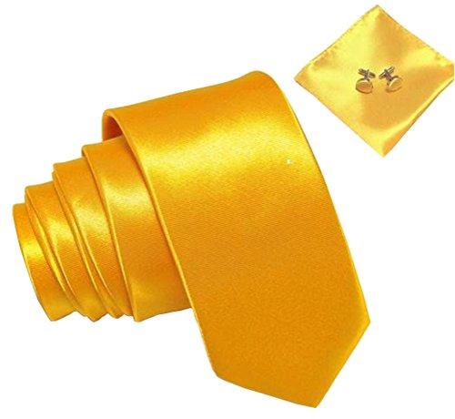 Kingsquare Herren Krawatte, Einstecktuch und Manschettenknöpfe - Gelb -
